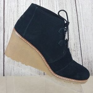 Toms Black Suede Desert Wedge Ankle Boots Size 10